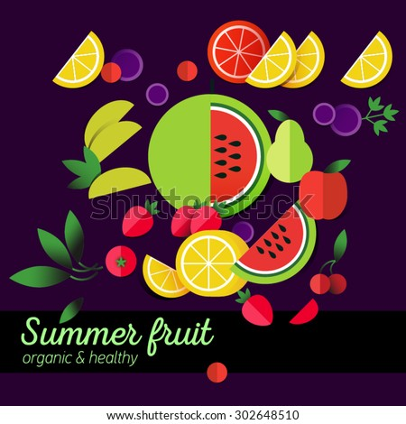 Healthy lifestyle illustration for print, web. Heart design element. Vector fruits collection icon. Flat icons design. Fruit menu, salad. Summer products. Tasty dessert. Vegetarian food. Stewed fruit