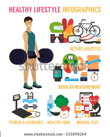 Healthy lifestyle infographic. Fitness, healthy food and active living. Athletic man in a gym. Flat design vector illustration. - stock vector