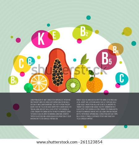 Healthy lifestyle infographic - vitamines in fruits and vegetables. Vegeterian and diet vector concept.  - stock vector
