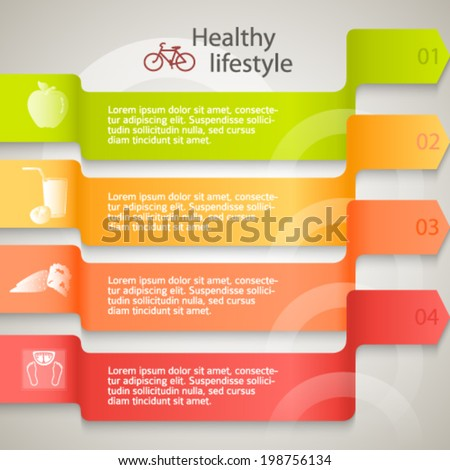 Healthy lifestyle & organic food icons. Modern background infographic style on ribbon arrows chart. Vector illustration eps 10 for cover page magazine or web banner  - stock vector