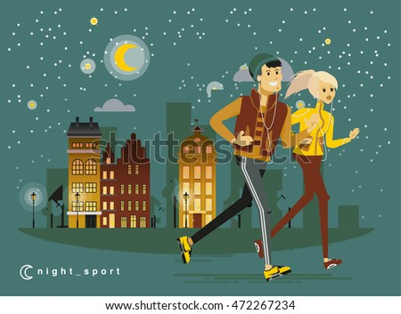 Healthy lifestyle people flat vector design, night cityscape run fitness workout running couple man and woman with city street background. Bright friendly smiling sport male, female character running