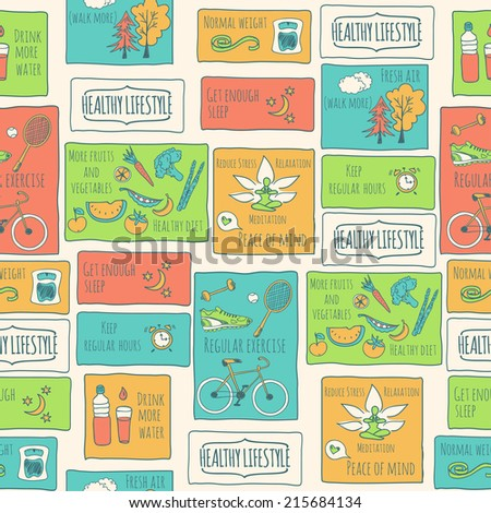 Healthy lifestyle seamless background. Vector illustration