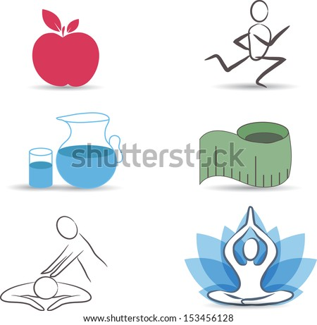 Healthy lifestyle symbol collection.Healthy food, exercises, normal weight, drinking water, relaxation and meditation. Isolated on a white background. - stock vector