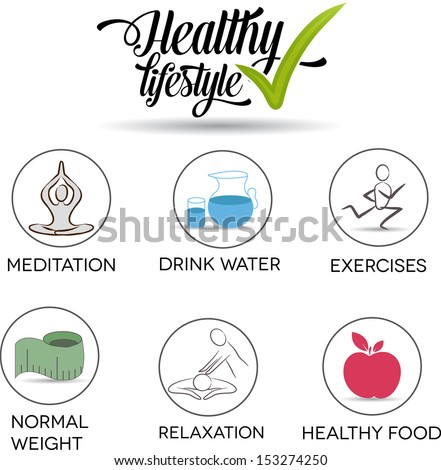 Healthy lifestyle symbols. Drink water, exercises, normal weight, healthy food, relaxation, meditation.  - stock vector