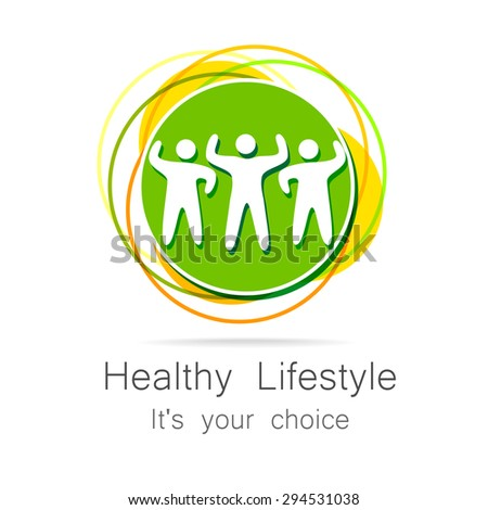 Healthy lifestyle - template for logos of sports club, sporting goods, diet, health centers , etc. - stock vector