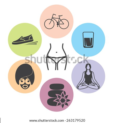healthy lifestyle vector icons - stock vector