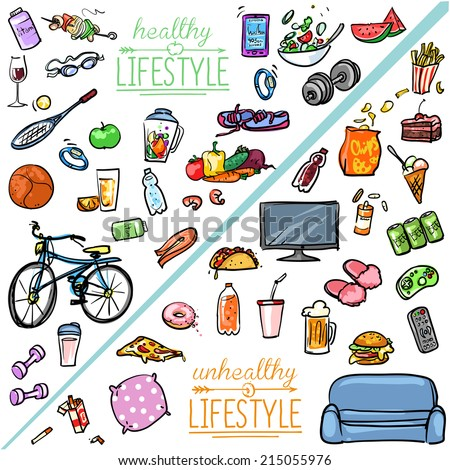 healthy lifestyle vs unhealthy lifestyle hand stock vector healthy lifestyle vs unhealthy lifestyle hand drawn cartoon collection