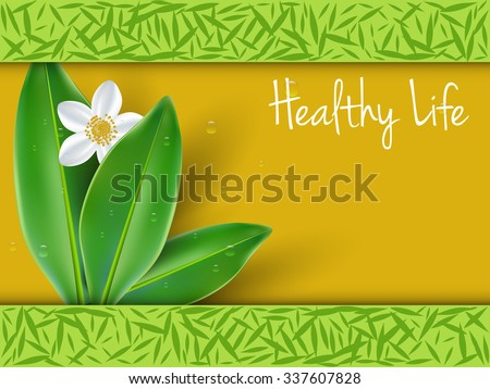 Healthy lifestyle with jasmine flowers background - stock vector