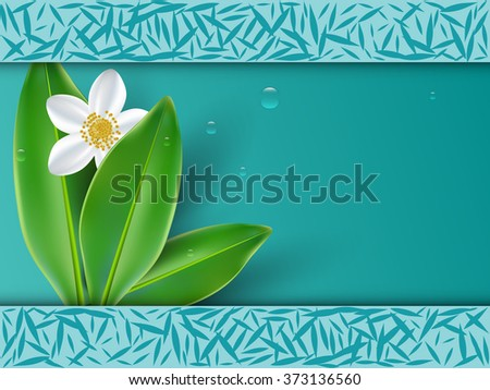 Healthy lifestyle with jasmine flowers vector background - stock vector