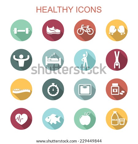 healthy long shadow icons, flat vector symbols - stock vector