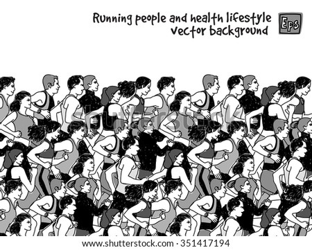 Healthy marathon with group of young people. vector illustration. EPS8