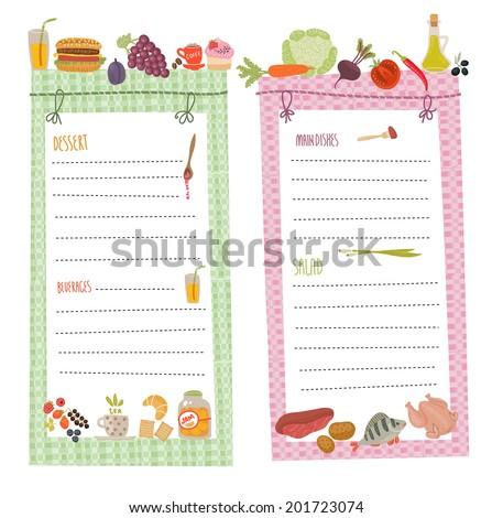 Healthy menu, food illustrations collection  - stock vector
