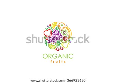 Healthy Organic eco vegetarian food Logo design vector template. Ecology fresh from farm fruits Logotype concept icon. - stock vector