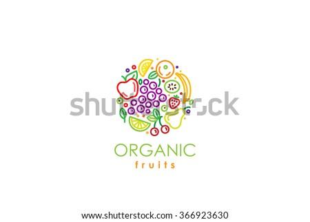 Healthy Organic eco vegetarian food Logo design vector template. Ecology fresh from farm fruits Logotype concept icon. - stock vector