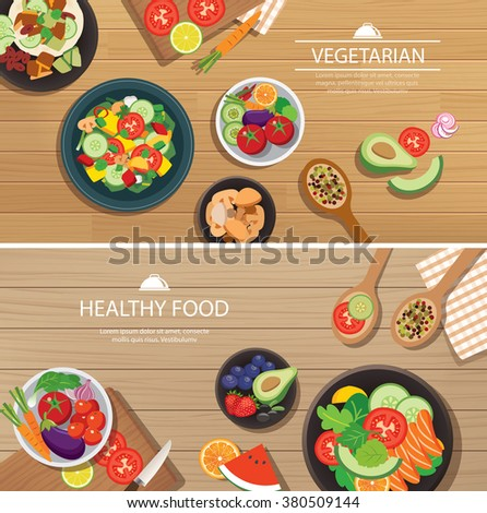 healthy organic vegetarian on a wooden background top view flat design - stock vector