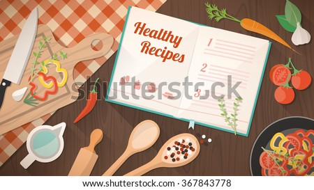 Healthy recipes cookbook, kitchen utensils and ingredients on the kitchen table, food preparation and learning concept - stock vector