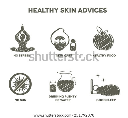 Healthy skin advices symbol collection. Hand drawn design. - stock vector