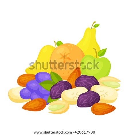 Healthy snack. Healthy food: fresh and dried fruits, nuts. A healthy breakfast: a pear, an apple, orange, grape, mango, prunes, dried banana, pistachio, almonds. Healthy snack vector. Snacking foods - stock vector