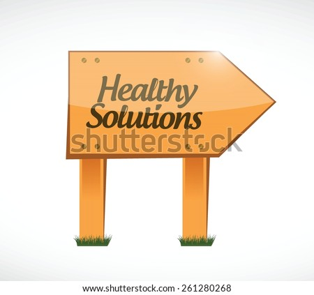 healthy solutions wood sign illustration design over white - stock vector