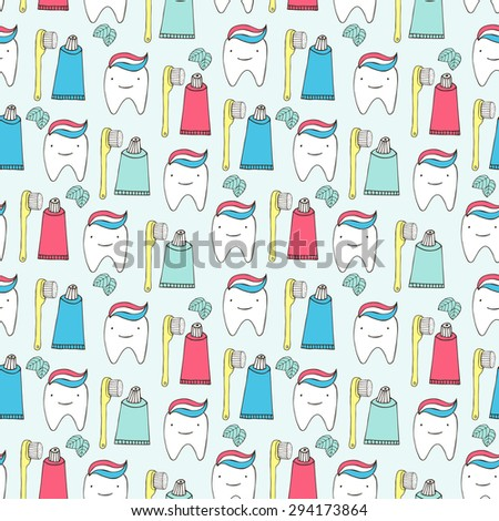 Healthy teeth seamless pattern. Vector illustration. - stock vector