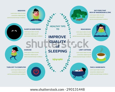 healthy tips to improve quality of sleeping infographic, vector illustration. - stock vector