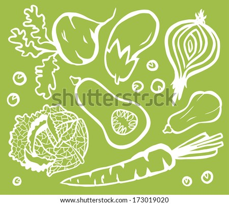 Healthy Vegetable Set White Outline On Green Background: Beetroot, Eggplant, Onion, Butternut Squash, Savoy Cabbage, Peas and Carrot - stock vector