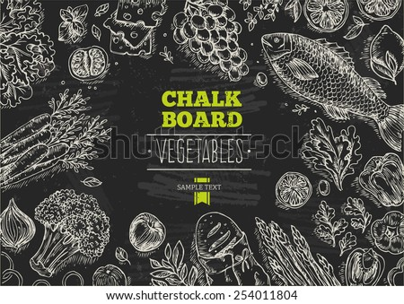 Healthy Vegetables Chalkboard Background. Lineart graphic. Vector illustration - stock vector