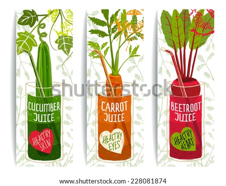 Healthy Vegetables Juices Design Collection on White with Signs and Stamps. Brightly colored vegetables for healthy diet. Layered vector EPS8 - stock vector