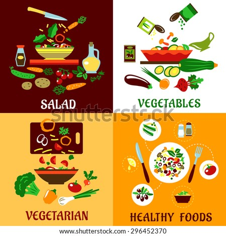 Healthy vegetarian food design with cooking process, fresh and preserved vegetables, served dinner with cutlery and ingredient icons with captions Salad, Vegetables, Vegetarian and Healthy Food - stock vector
