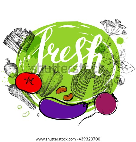 Healthy vegetarian food. Hand drawn Inscription.  Vector background with vegetables. Tomato, pepper, mushrooms, radish, cabbage, herbs, beet, cucumber.  Ink calligraphy. - stock vector