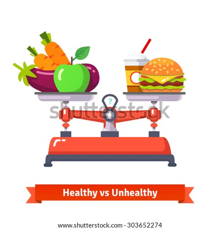 Healthy versus unhealthy food. Hamburger and cola or vegetables and fruits. Flat style vector illustration isolated on white background. - stock vector
