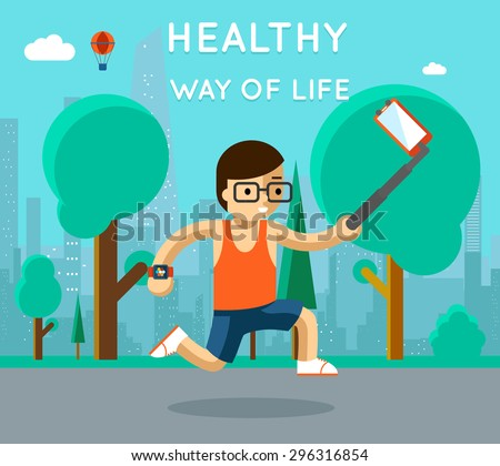 Healthy way of life. Sport monopod selfie in park. Exercise and run, active athlete, vector illustration - stock vector