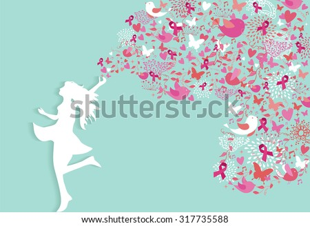 Healthy woman silhouette pink ribbon spring nature symbols in support of breast cancer awareness. EPS10 vector file. - stock vector