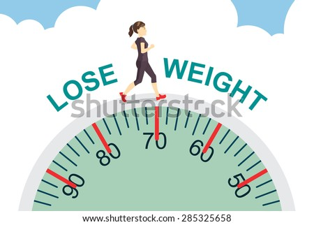 Healthy women lose weight with jogging on big scale, health care concept - stock vector
