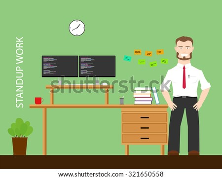 healthy work using stand up workstation flat vector design - stock vector
