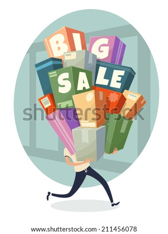 Heap of boxes with Big Sale text. Vector illustration. - stock vector