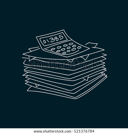 Heap of documents accompanied by calculator. vector illustration