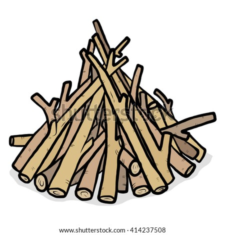 heap of firewood / cartoon vector and illustration, hand drawn style, isolated on white background. - stock vector