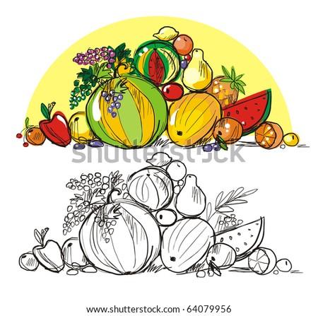Heap of multi-coloured fresh fruit - stock vector