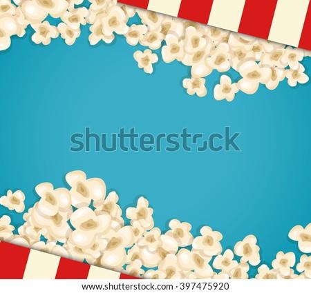 Heap popcorn for movie lies on blue background. Vector illustration for cinema design. Fun sweet food border, frame, flyer, poster, banner. Popcorn wave stripes box. Cinema close-up snack concept. - stock vector
