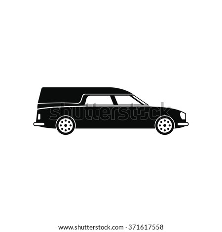 Hearse car black simple icon isolated on white background - stock vector
