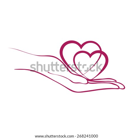 Hearst in hand. Symbol of care. Vector illustration - stock vector