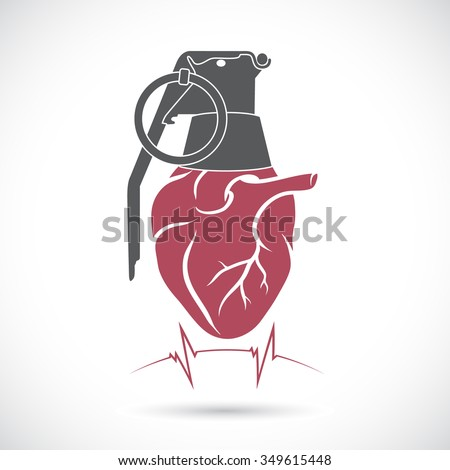 Heart and a hand grenade. - stock vector