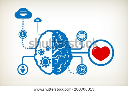 Heart and abstract human brain, the concept of the information movement