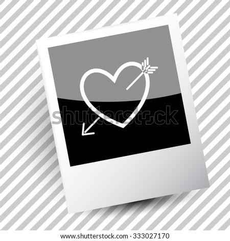 heart and arrow. Photo frame. Vector icon. - stock vector