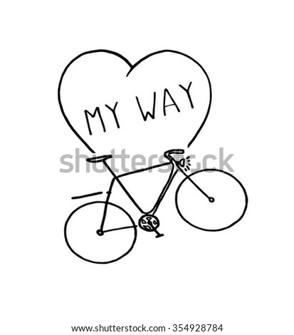 heart and bicycle - stock vector