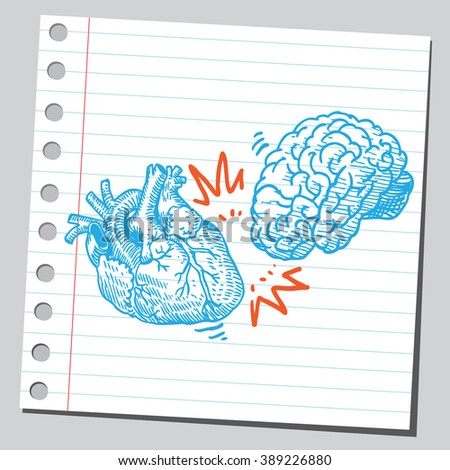 Heart and brain crash - stock vector