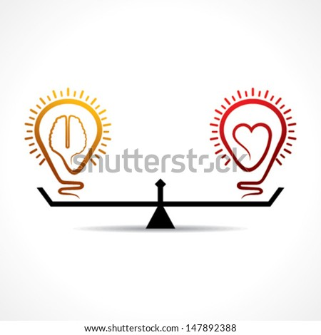 heart and brain is equal weight age   stock vector - stock vector