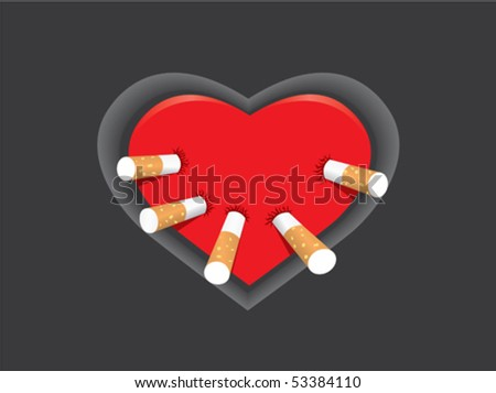 Heart and cigarettes - stock vector