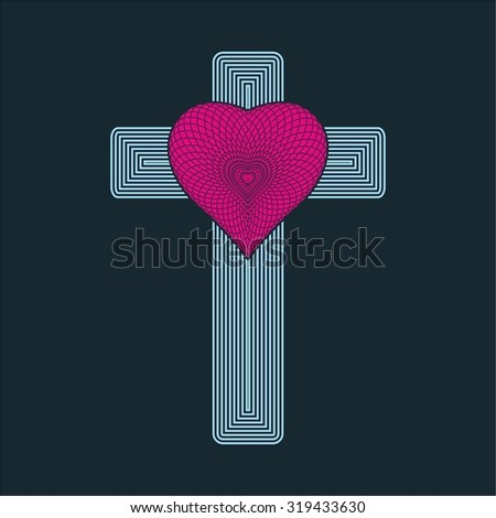 Heart and cross icon - stock vector